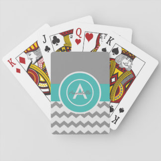 Gray Teal Chevron Poker Deck