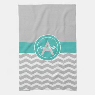 Gray Teal Chevron Tea Towel