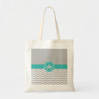 Gray Teal Chevron Tote Bag