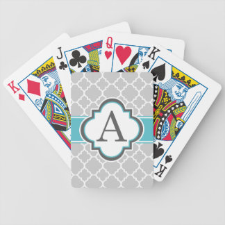 Gray Teal Monogram Letter A Quatrefoil Bicycle Playing Cards