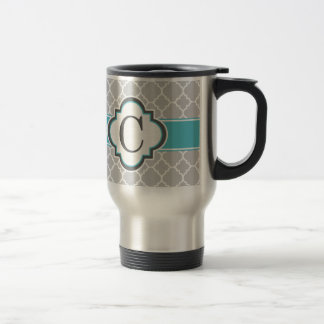 Gray Teal Monogram Letter C Quatrefoil Travel Mug