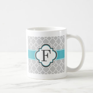 Gray Teal Monogram Letter F Quatrefoil Coffee Mug