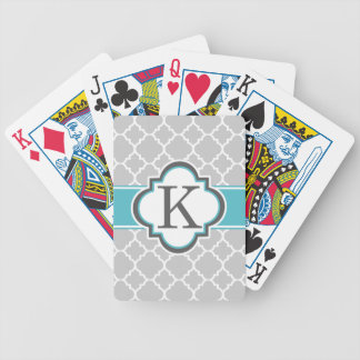Gray Teal Monogram Letter K Quatrefoil Bicycle Playing Cards