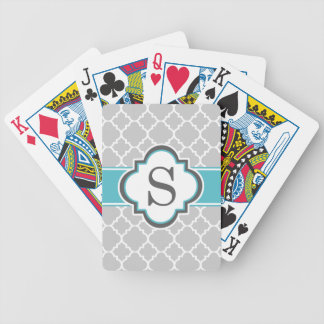 Gray Teal Monogram Letter S Quatrefoil Bicycle Playing Cards