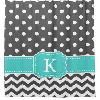 Gray Teal Polka Dots Chevron Monogram Initials Shower Curtain