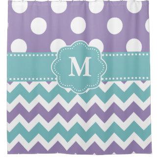 Gray Teal Purple Chevron Monogram Shower Curtain