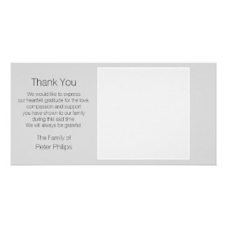 Gray Template Sympathy Thank You with white border Personalised Photo Card