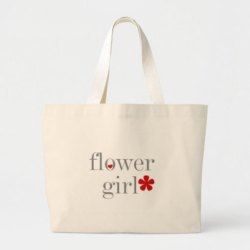 Gray Text Flower Girl Canvas Bag