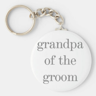 Gray Text Grandpa of Groom Basic Round Button Key Ring