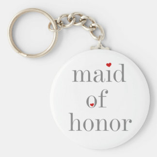 Gray Text Maid of Honor Basic Round Button Key Ring