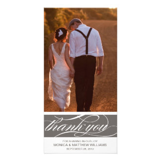 GRAY THANKS | WEDDING THANK YOU CARD PERSONALISED PHOTO CARD