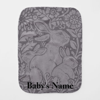 Gray Tone Burp Cloth Baby Rabbit Personalized Gift