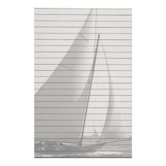 Gray Tone Sail Boat With Lines Stationery
