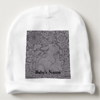 Gray Tones Baby Cap Bunny Rabbit Personalized Gift Baby Beanie