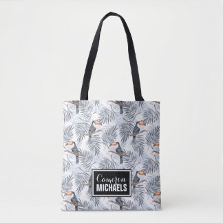 Gray Toucan | Add Your Name Tote Bag