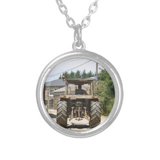 Gray Tractor on El Camino, Spain Silver Plated Necklace