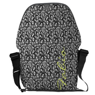 gray translucent halloween skulls with name messenger bags