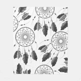 Gray Trendy Bohemian Dream Catchers Fleece Blanket