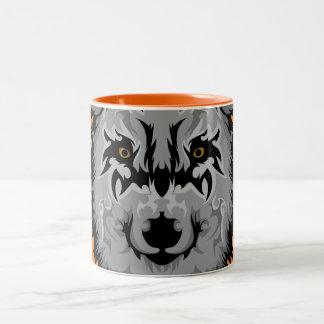 Gray Tribal Wolf Head Two-Tone Coffee Mug