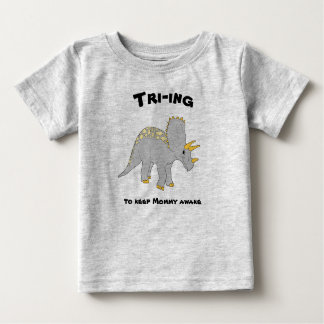 Gray Triceratops Baby Tee