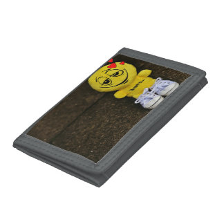 Gray TriFold Nylon Wallet - Happy face