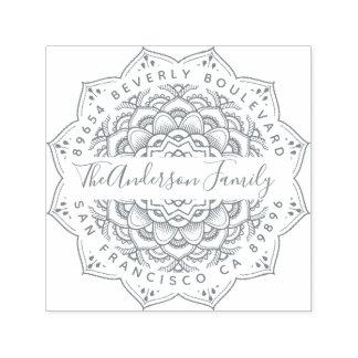 Gray Triumph Mandala Elegant Return Address Self-inking Stamp