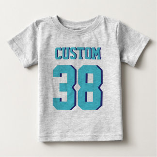 Gray & Turquoise Baby | Sports Jersey Design Baby T-Shirt