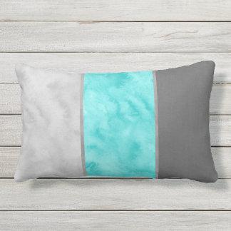 Gray Turquoise Block Stripes Lumbar Cushion