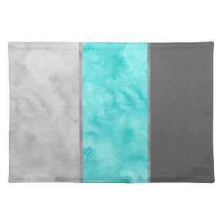 Gray Turquoise Block Stripes Placemat