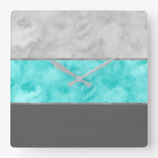 Gray Turquoise Block Stripes Square Wall Clock