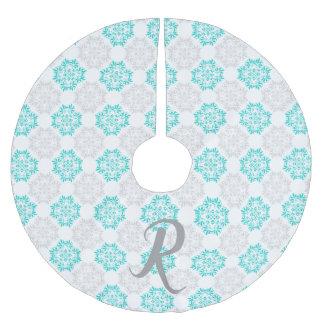 Gray Turquoise Modern Kaleidoscope Damask Pattern Brushed Polyester Tree Skirt