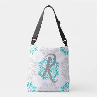 Gray Turquoise Modern Kaleidoscope Damask Pattern Crossbody Bag