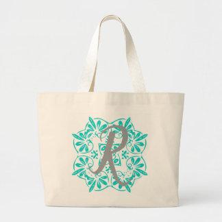 Gray Turquoise Modern Kaleidoscope Damask Pattern Large Tote Bag