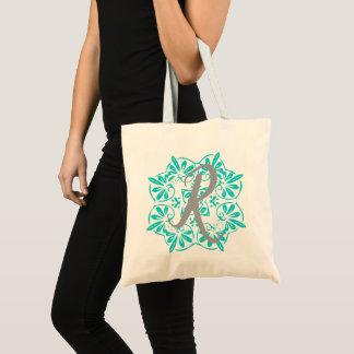 Gray Turquoise Modern Kaleidoscope Damask Pattern Tote Bag