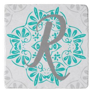 Gray Turquoise Modern Kaleidoscope Damask Pattern Trivet