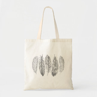 Gray Watercolor Feather Print Tote