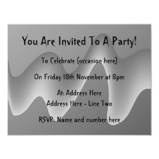 Gray Wave Abstract. 11 Cm X 14 Cm Invitation Card