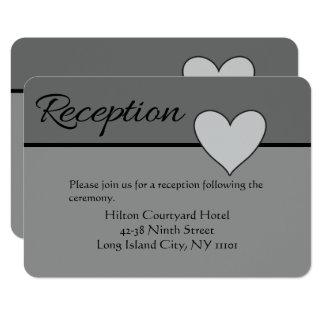 Gray Wedding Reception Love Heart Black & Grey Card