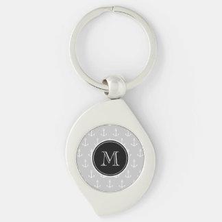 Gray White Anchors Pattern, Black Monogram Silver-Colored Swirl Key Ring