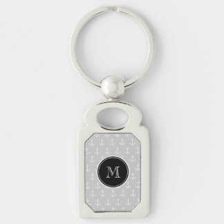 Gray White Anchors Pattern, Black Monogram Silver-Colored Rectangle Key Ring