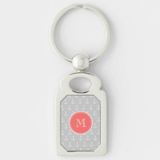 Gray White Anchors Pattern, Coral Monogram Silver-Colored Rectangle Key Ring