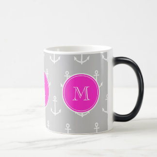 Gray White Anchors Pattern, Hot Pink Monogram Magic Mug