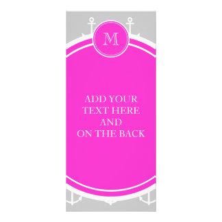 Gray White Anchors Pattern Hot Pink Monogram Custom Rack Card