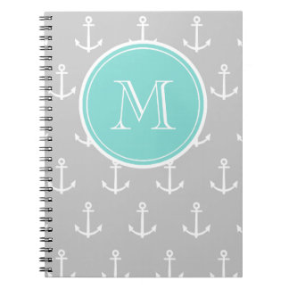 Gray White Anchors Pattern, Mint Monogram Note Book