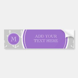 Gray White Anchors Pattern, Purple Monogram Bumper Sticker