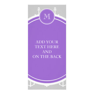 Gray White Anchors Pattern, Purple Monogram Full Color Rack Card