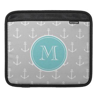 Gray White Anchors Pattern, Teal Monogram iPad Sleeve