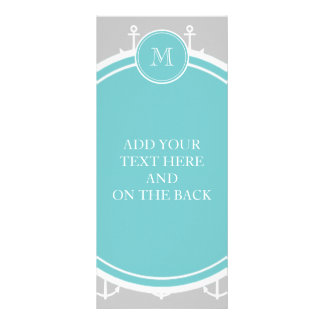 Gray White Anchors Pattern Teal Monogram Personalized Rack Card