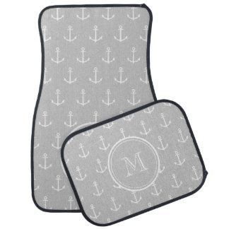 Gray White Anchors Pattern, Your Monogram Car Mat