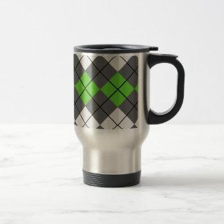 Gray White and Green Argyle Coffee Mug